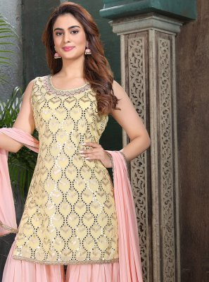 Embroidered Georgette Pink and Yellow Designer Salwar Suit