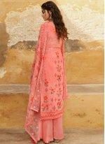Embroidered Georgette Pink Designer Salwar Kameez