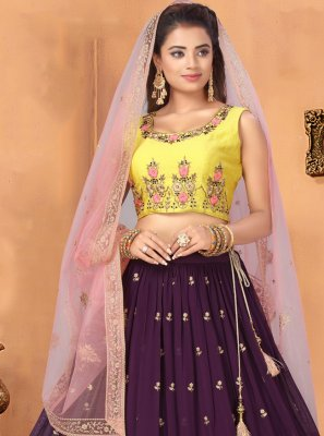 Embroidered Georgette Purple Bollywood Lehenga Choli