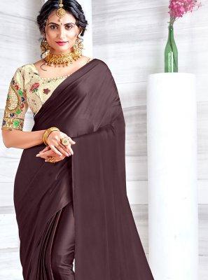 Embroidered Georgette Satin Classic Designer Saree