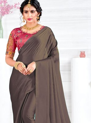 Embroidered Georgette Satin Grey Classic Saree
