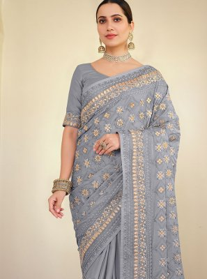Embroidered Georgette Satin Lavender Traditional Saree