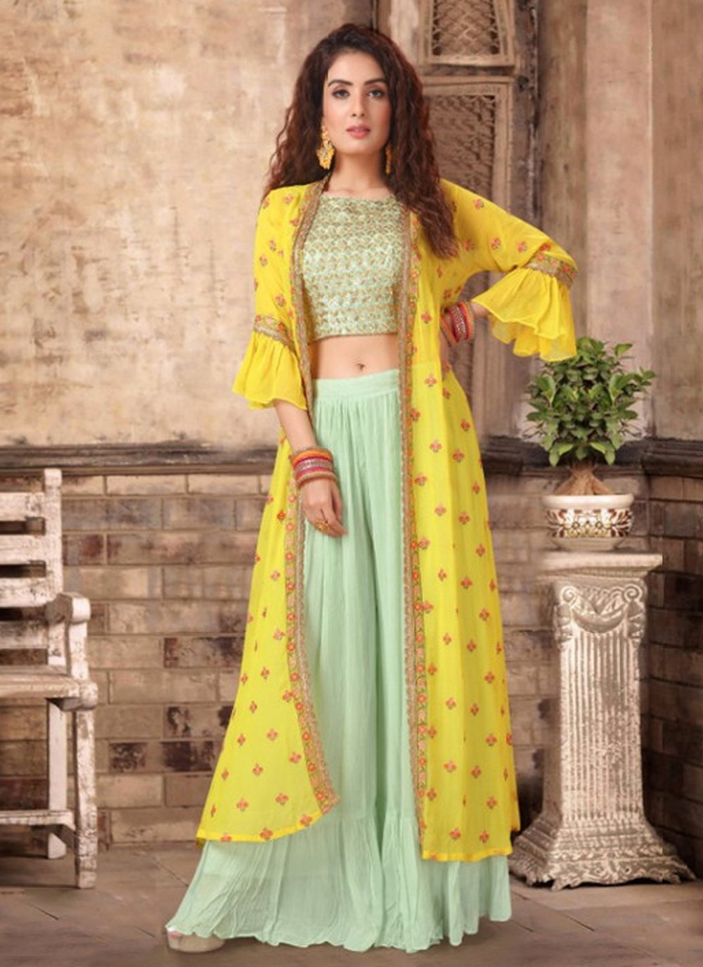 Embroidered Georgette Sea Green and Yellow Party Wear Kurti