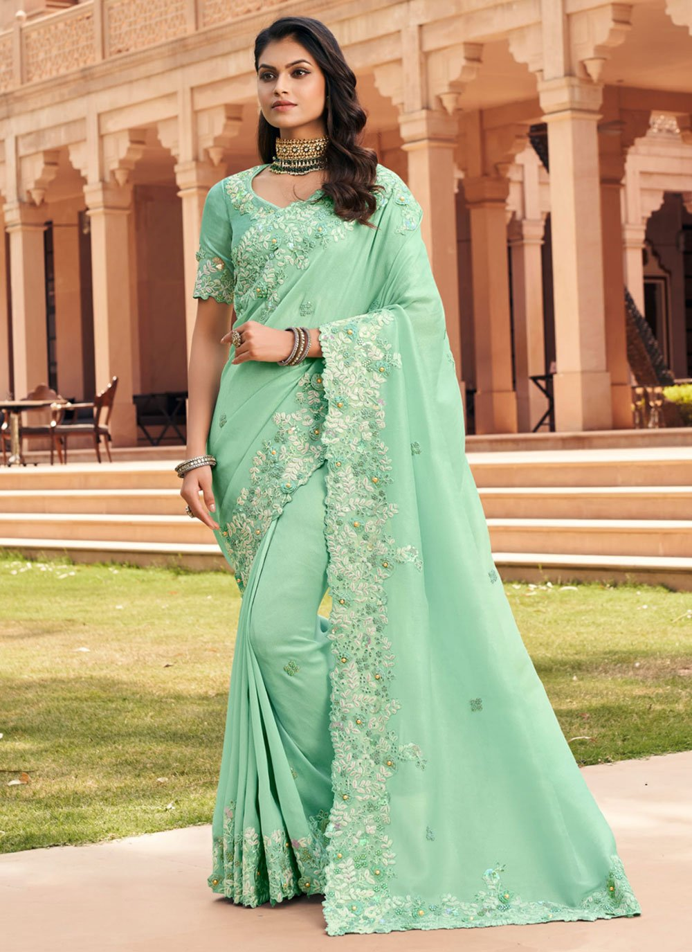 Embroidered Georgette Sea Green Traditional Saree