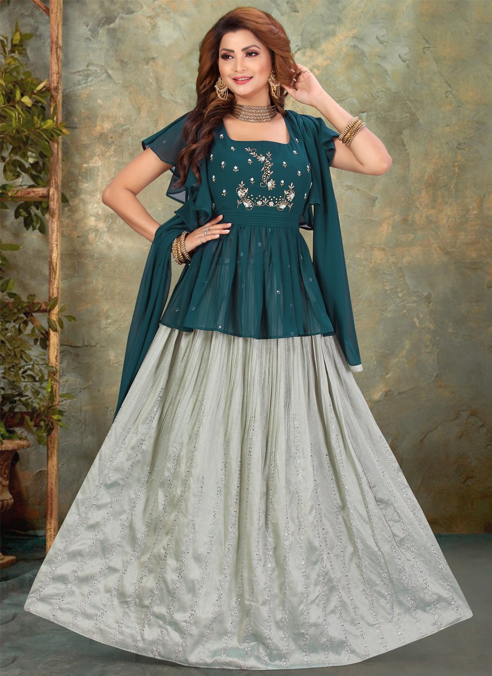 Embroidered Georgette Teal Floor Length Anarkali Suit