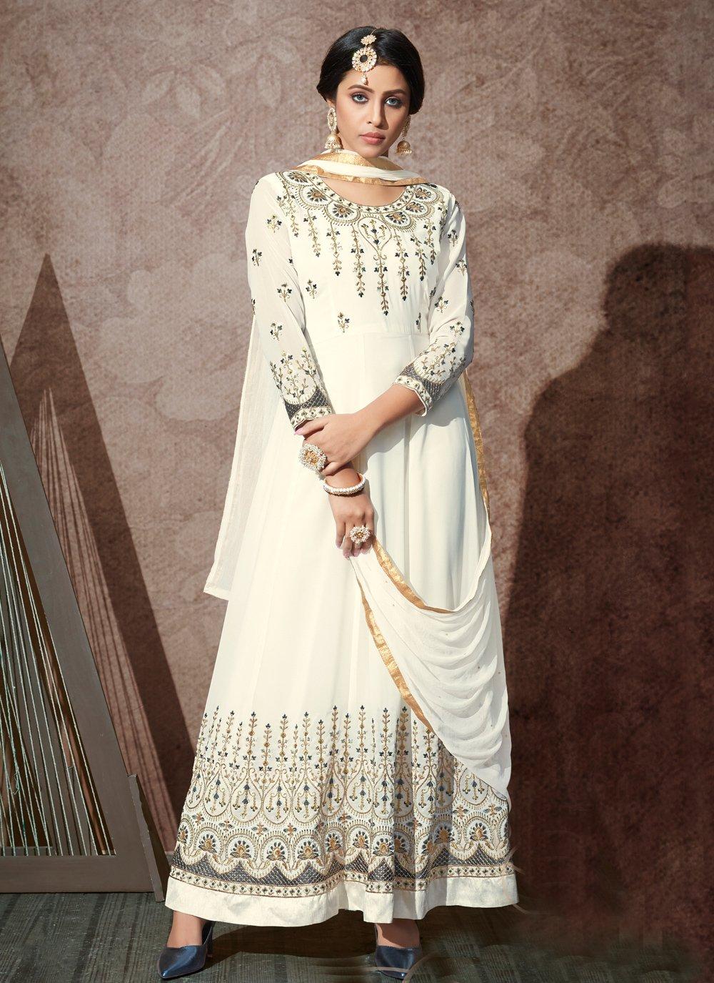 Embroidered Georgette White Desinger Anarkali Salwar Suit