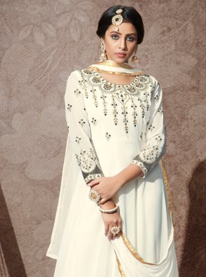 Embroidered Georgette White Desinger Anarkali Salwar Suit
