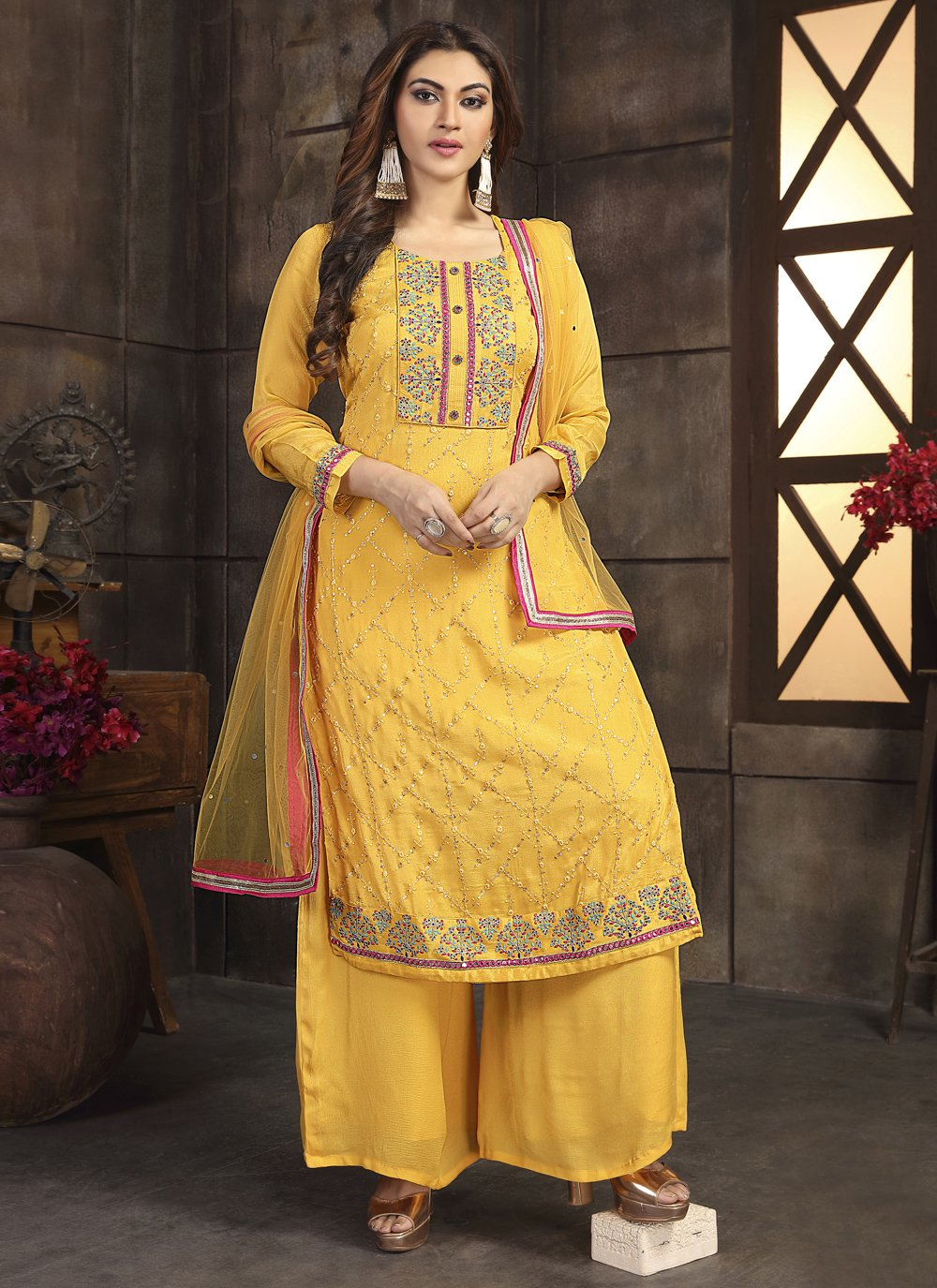 Embroidered Georgette Yellow Readymade Suit