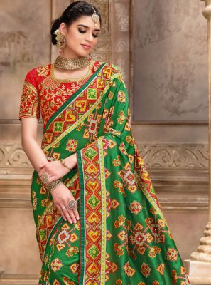 Embroidered Green and Red Designer Traditional Saree