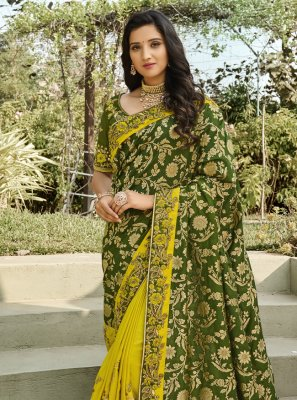 Embroidered Green and Yellow Half N Half Designer Saree