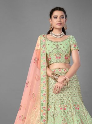 Embroidered Green Art Silk Designer Lehenga Choli