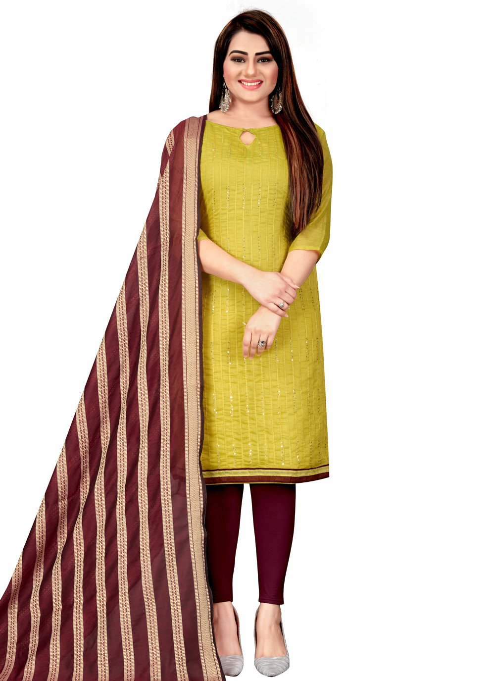 Embroidered Green Chanderi Churidar Suit