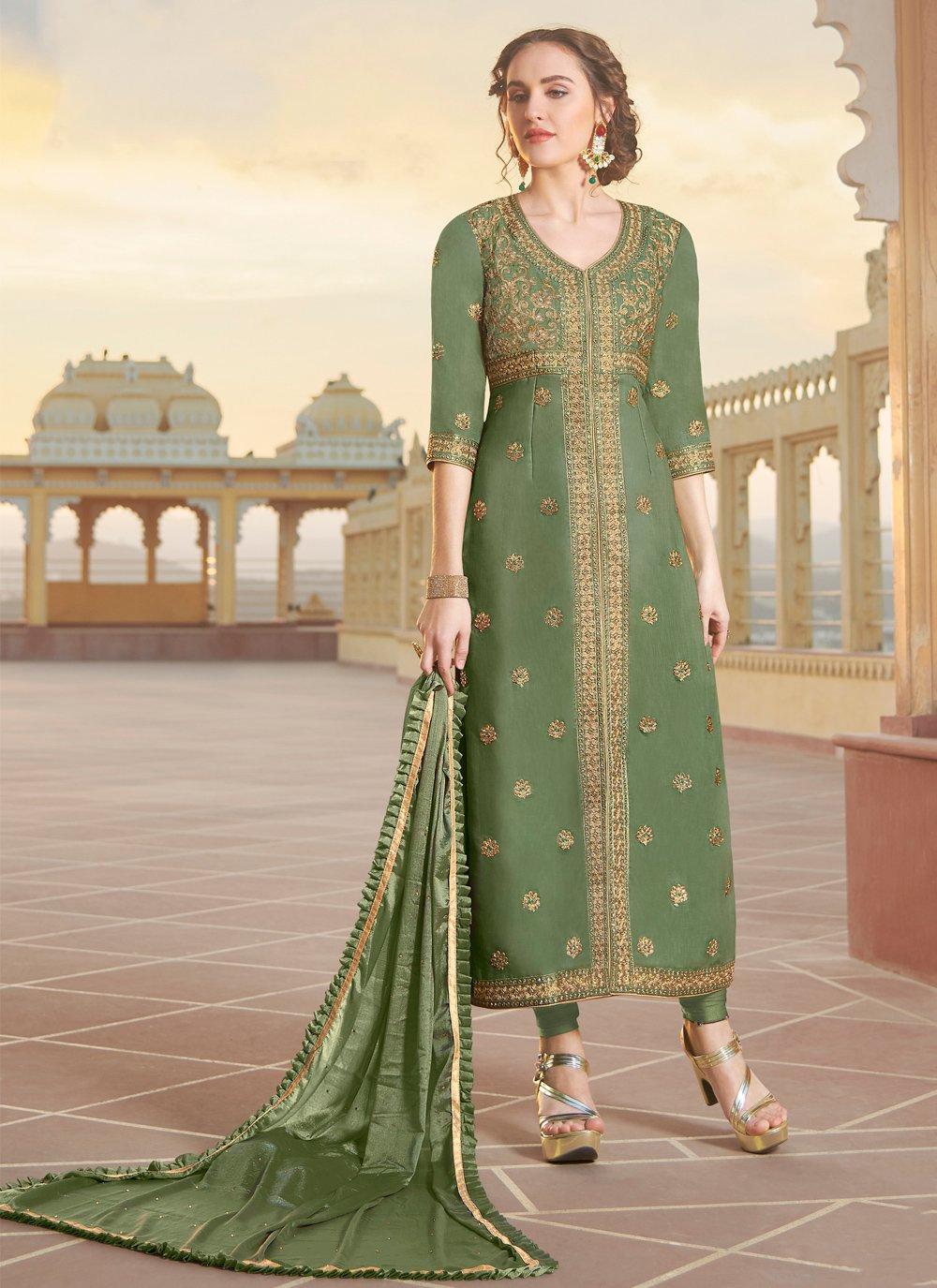 Embroidered Green Chanderi Designer Straight Suit