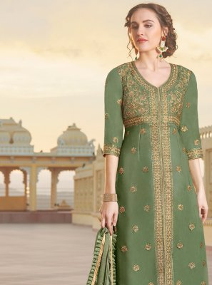 Embroidered Green Chanderi Designer Straight Suit