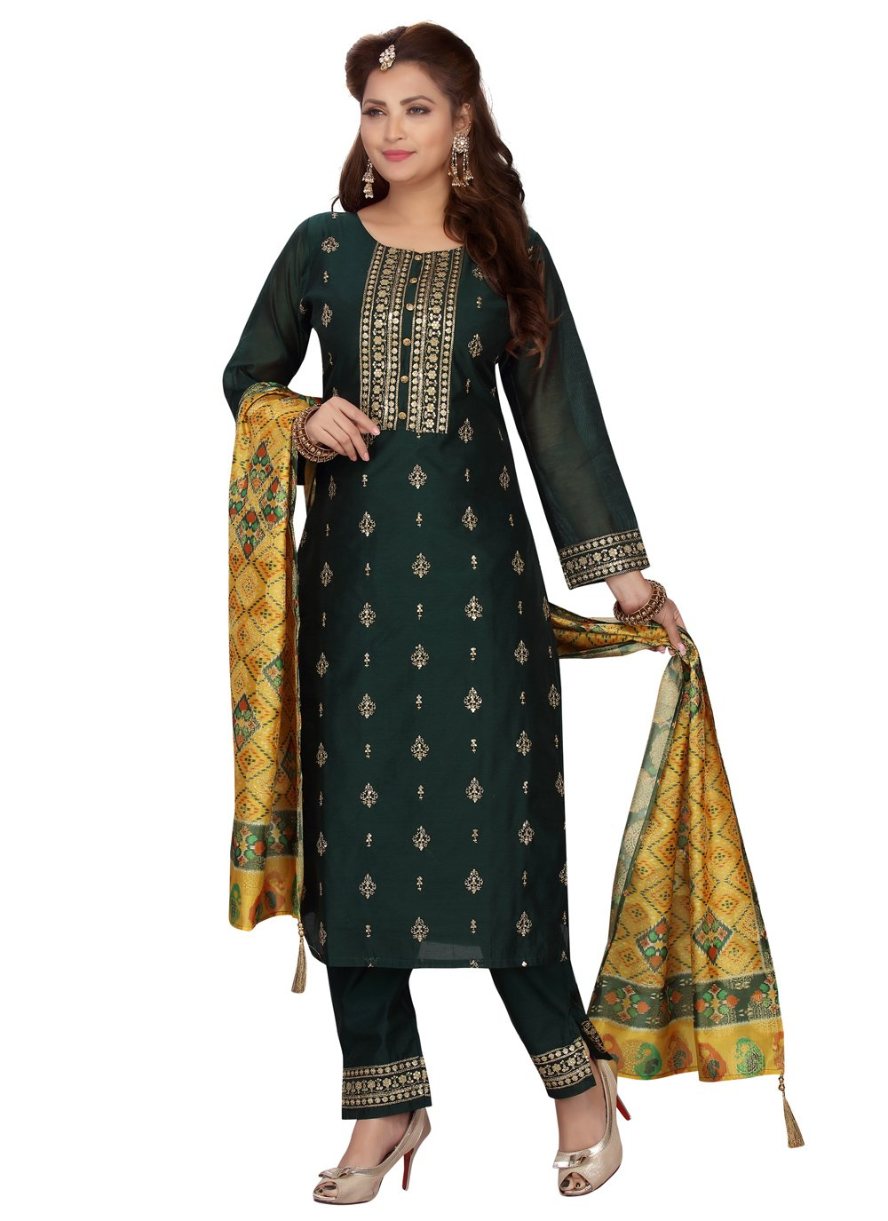Embroidered Green Chanderi Readymade Suit