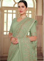 Embroidered Green Contemporary Saree