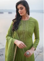 Embroidered Green Cotton Silk Pant Style Suit