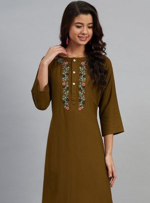 Embroidered Green Designer Kurti