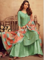 Embroidered Green Faux Chiffon Bollywood Salwar Kameez