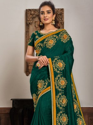 Embroidered Green Georgette Classic Designer Saree