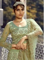 Embroidered Green Net Lehenga Choli