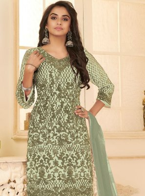 Embroidered Green Net Pant Style Suit