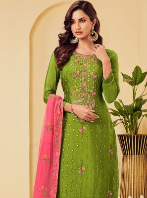 Embroidered Green Pant Style Suit