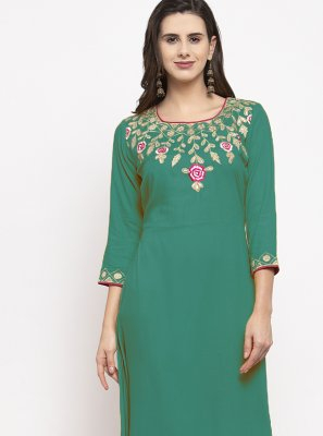 Embroidered Green Party Wear Kurti