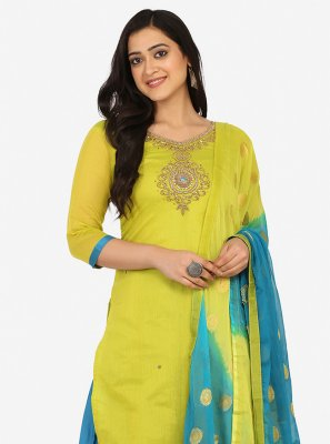 Embroidered Green Patiala Suit