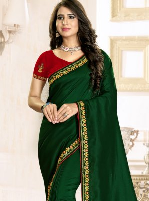 Embroidered Green Raw Silk Traditional Saree