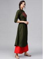 Embroidered Green Rayon Designer Kurti