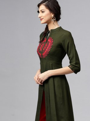 Embroidered Green Rayon Designer Kurti