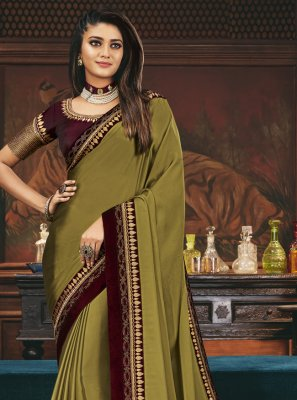 Embroidered Green Silk Traditional Designer Saree