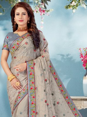 Embroidered Grey Art Silk Designer Traditional Saree