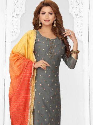 Embroidered Grey Chanderi Readymade Suit