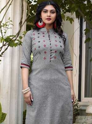 Embroidered Grey Cotton Designer Kurti