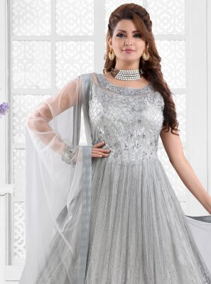Embroidered Grey Floor Length Anarkali Suit