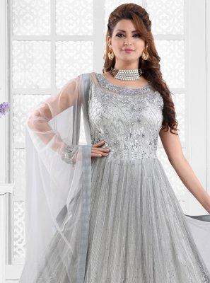 Embroidered Grey Floor Length Anarkali Suit