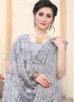 Embroidered Grey Net Designer Saree