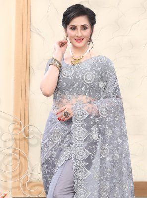 Embroidered Grey Net Designer Saree