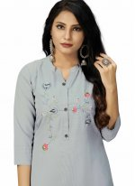 Embroidered Grey Party Wear Kurti