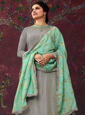 Embroidered Grey Prachi Desai Long Choli Lehenga