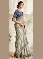 Embroidered Grey Silk Designer Traditional Saree