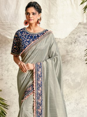 Embroidered Grey Silk Designer Traditional Saree
