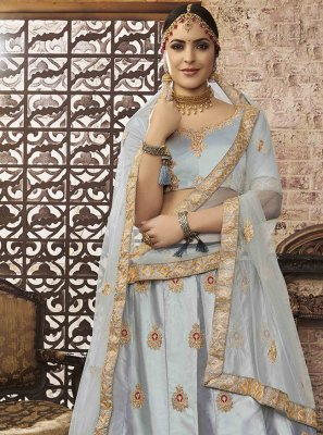 Embroidered Grey Silk Lehenga Choli