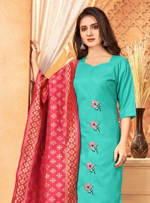 Embroidered Handloom Cotton Pant Style Suit in Sea Green