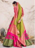 Embroidered Hot Pink Banarasi Silk Lehenga Choli