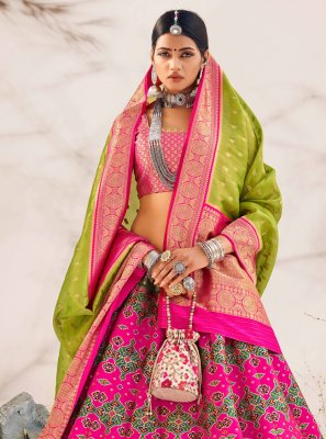 Embroidered Hot Pink Banarasi Silk Lehenga Choli
