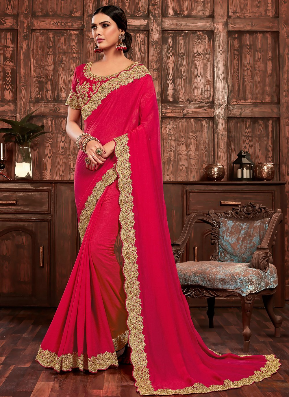 Embroidered Hot Pink Poly Silk Designer Traditional Saree