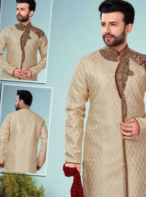 Embroidered Jacquard Indo Western in Beige